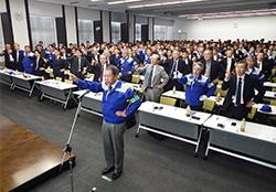 Group-wide safety convention(chanting a safety slogan in unison)