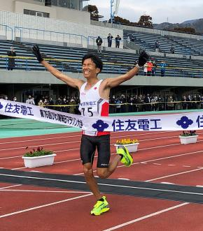 Mr. Suzuki at the moment of his establishment of a new Japanese national record!
